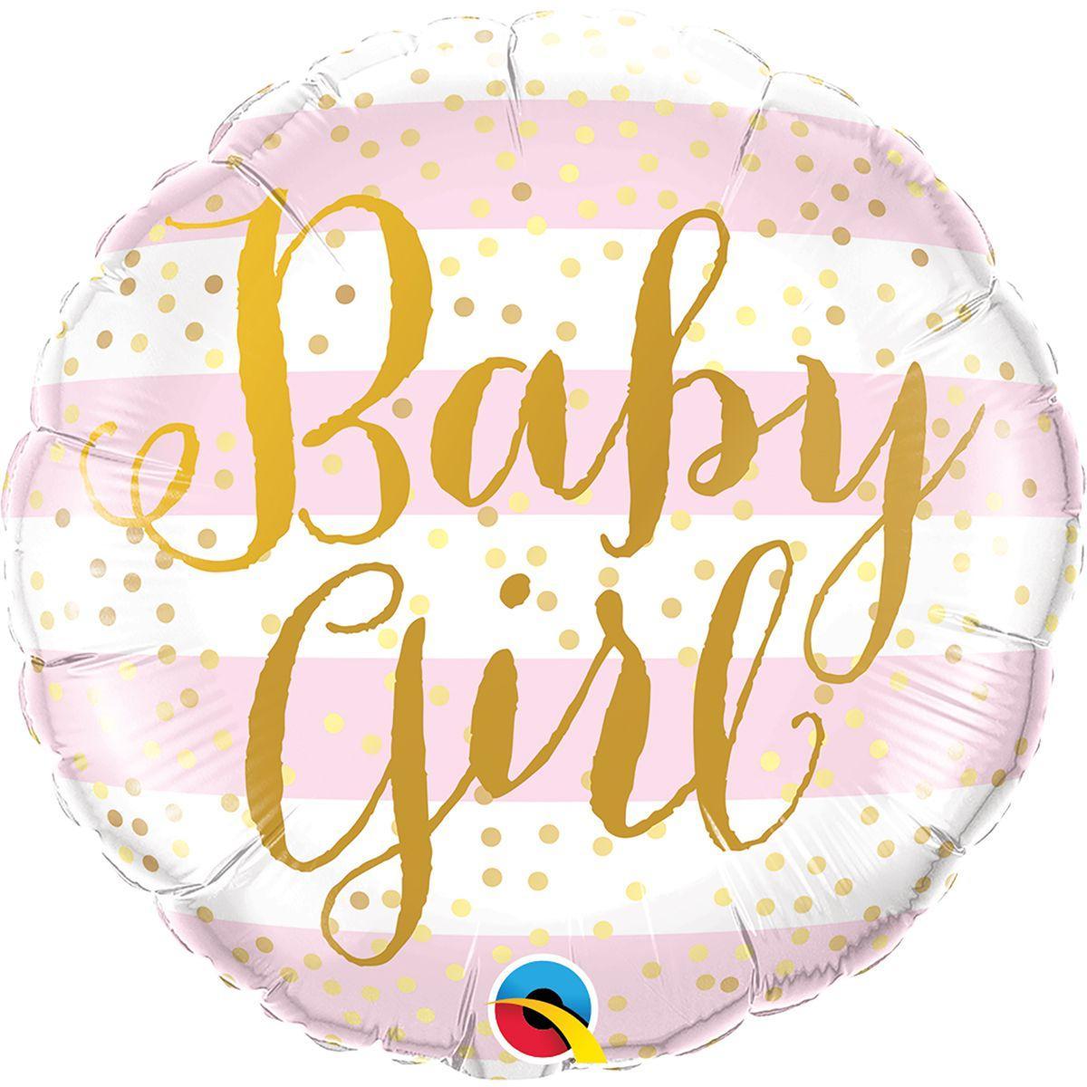 "Фол шар Qualatex 18"" Круг Baby Girl розовая и белая полоска (Квалатекс)"