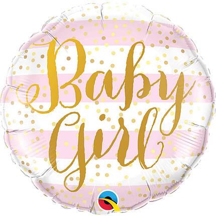 "Фол шар Qualatex 18"" Круг Baby Girl розовая и белая полоска (Квалатекс), фото 2"
