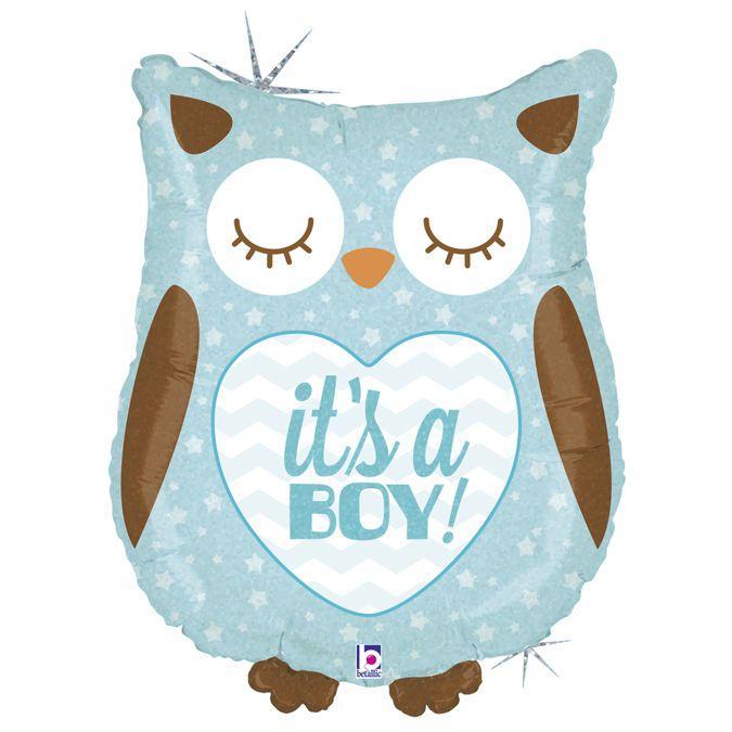 Фол шар фигура Сова It's a boy Голубая (Грабо)
