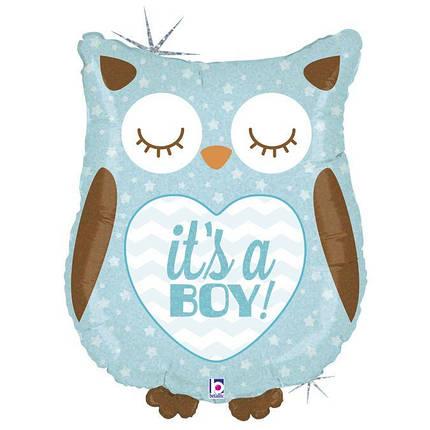 Фол шар фигура Сова It's a boy Голубая (Грабо), фото 2