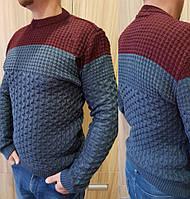 Теплый мужской свитер с круглой горловиной, размеры: M, L, XL, расцветки разные