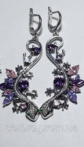 Оригінальні сережки з підвісом і кольоровим цирконом срібло Саламандра