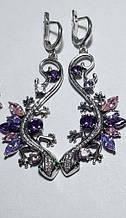 Оригинальные сережки с подвесом и цветным цирконом серебро Саламандра