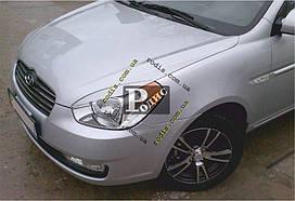 """Реснички на фары Hyundai Accent 2006-2010 """"Orticar"""" (стеклопластик)"""