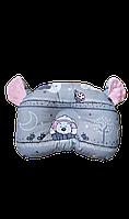 Ортопедическая подушка для младенца masterwork teddy bear аэропух 24*30 см. серая с розовым