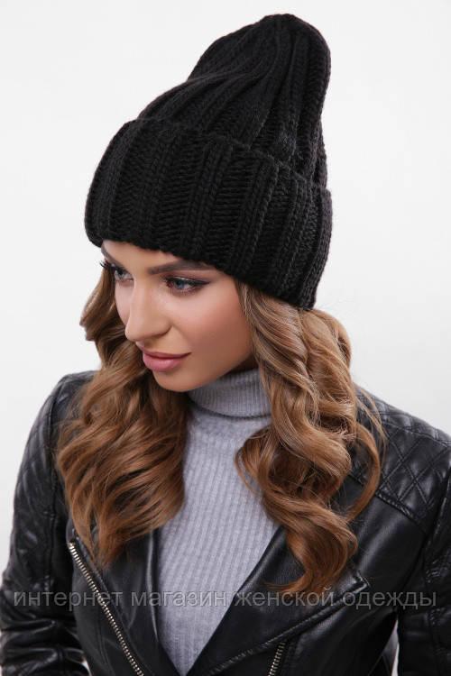 Молодежная теплая шапка вязаная с отворотом черная