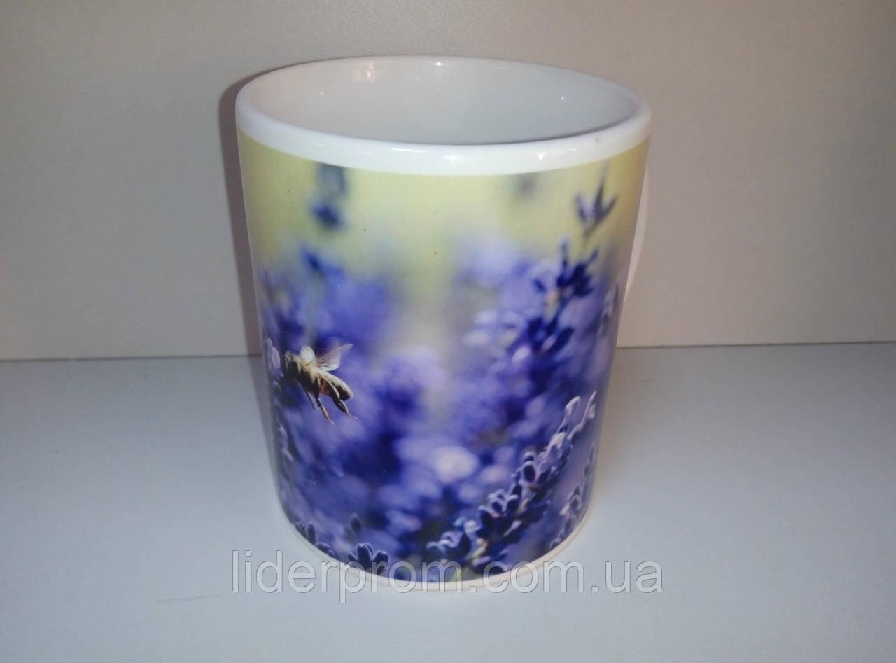 """Чашка подарункова для бджоляра, для любителів меду та пасіки """"Лаванда з бджолою"""""""