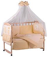 Детская постель Qvatro с аппликацией (8 элем.,со змейками на защите).  бежевый (мишка мордочка штопанная), фото 1
