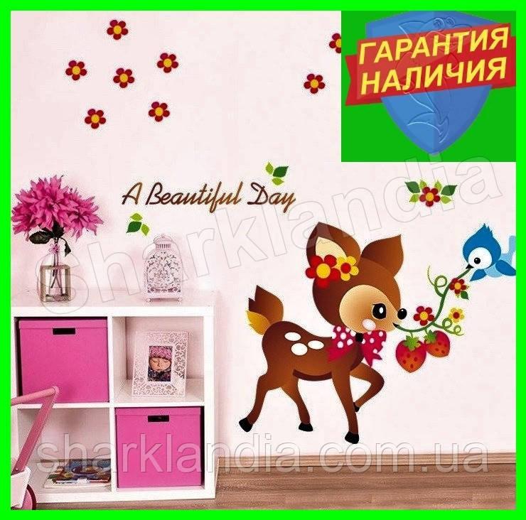 Интерьерная виниловая наклейка в детскую комнату на стену Олененок Бэмби Bambi оленя Бембі
