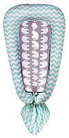 Кокон для новорожденных Babyroom Кокон-гнездышко elephant бирюзовый-серый