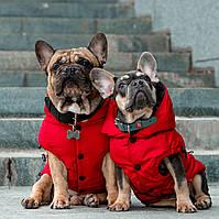 Одежда для собак,  Зимний теплый  Жилет Winter Red. Для французского бульдога, мопса