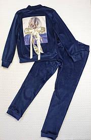 Велюровый костюм на змейке для девочки  134-146 ТЕМНО-СИНИЙ