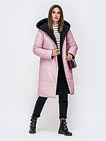 Двусторонняя стеганая куртка из водонепроницаемой плащевки «Lacce». ( 44, 46 )  Черный/розовый