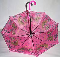 Детский розовый зонт-трость Маша и Медведь для девочек на 8 спиц
