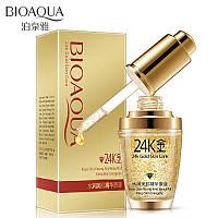 Сыворотка для лица с частицами 24к золота и гиалуроновой кислотой Bioaqua 24k Gold Skin Care (30мл)