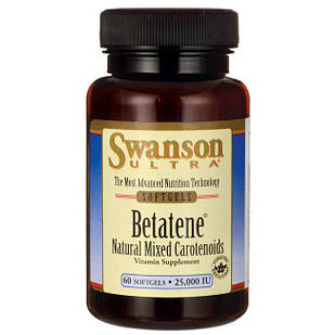 Swanson Ultra  Betatene Смесь натуральных каротиноидов 60 ЖК 25000 UI