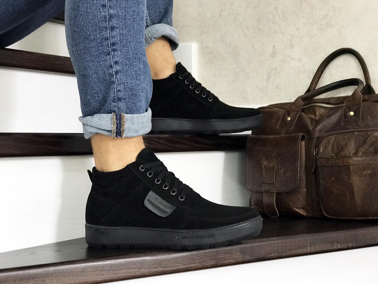 Мужские зимние замшевые ботинки (полуботинки) VanKristi Black