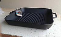 Сковорода гриль чугунная, эмалированная, квадратная,280мм*280мм, матово-чёрная
