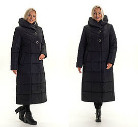 Зимнее женское пальто молодежное с капюшоном черное размер 46-52