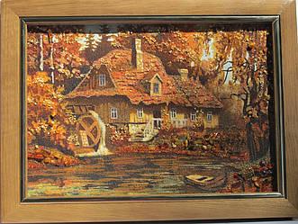 """Картина з бурштинової крихти """"Будиночок на річці"""" (пейзаж) 20х30"""
