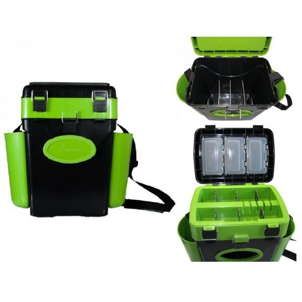 Ящик зимний Helios Fishbox 2 секции - 10 л (зеленый)