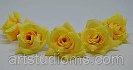Искусственные головки розы. Д=4см. Цвет желтый  (5шт)