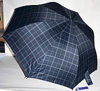 Большой темно-синий зонт-трость Lantana мужской и семейный в клетку на 8 спиц