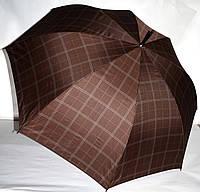Большой коричневый зонт-трость Lantana мужской и семейный в клетку на 8 спиц