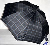 Большой черный зонт-трость Lantana мужской и семейный в клетку на 8 спиц
