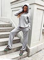 Костюм женский, теплый, трикотаж ангора, прогулочный,свободный блузон с капюшоном и расклешенные брюки