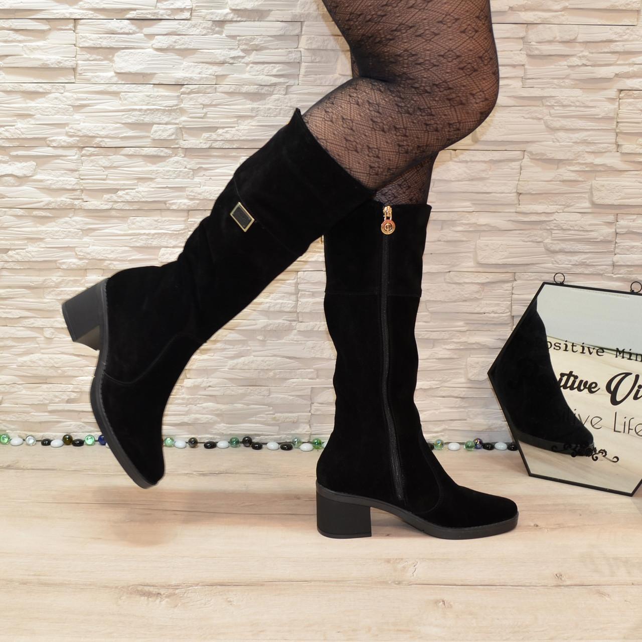 Сапоги замшевые женские  на невысоком каблуке, цвет черный