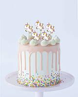 Набор топперов в торт маленький единорог (5шт)