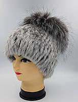 Женская меховая шапка Klaus Кролик с Чернобуркой Кубанка Светло-Серый  One size(18/30)