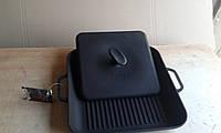 Сковорода гриль чугунная эмалированная, квадратная,с прессом,280мм*280мм, матово-чёрная