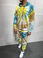 Мужской спортивный костюм из хлопка желтый батик