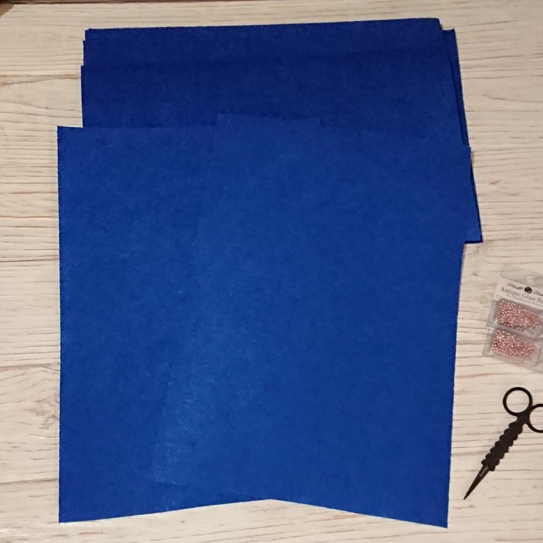 Фетр жесткий 1 мм, Royal Тайвань синий джинс 20*30 см