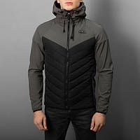 "Мужская демисезонная куртка Pobedov Jacket ""Soft Shell combi V2"" Black/Grey (S, M, L, XL размеры)"