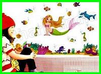 Интерьерная виниловая детская наклейка Русалочка для декора  в детскую комнату на стену