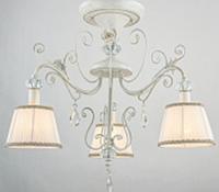 Люстра Прованс 3 плафона Е14, белая с золотой патиной, фото 1