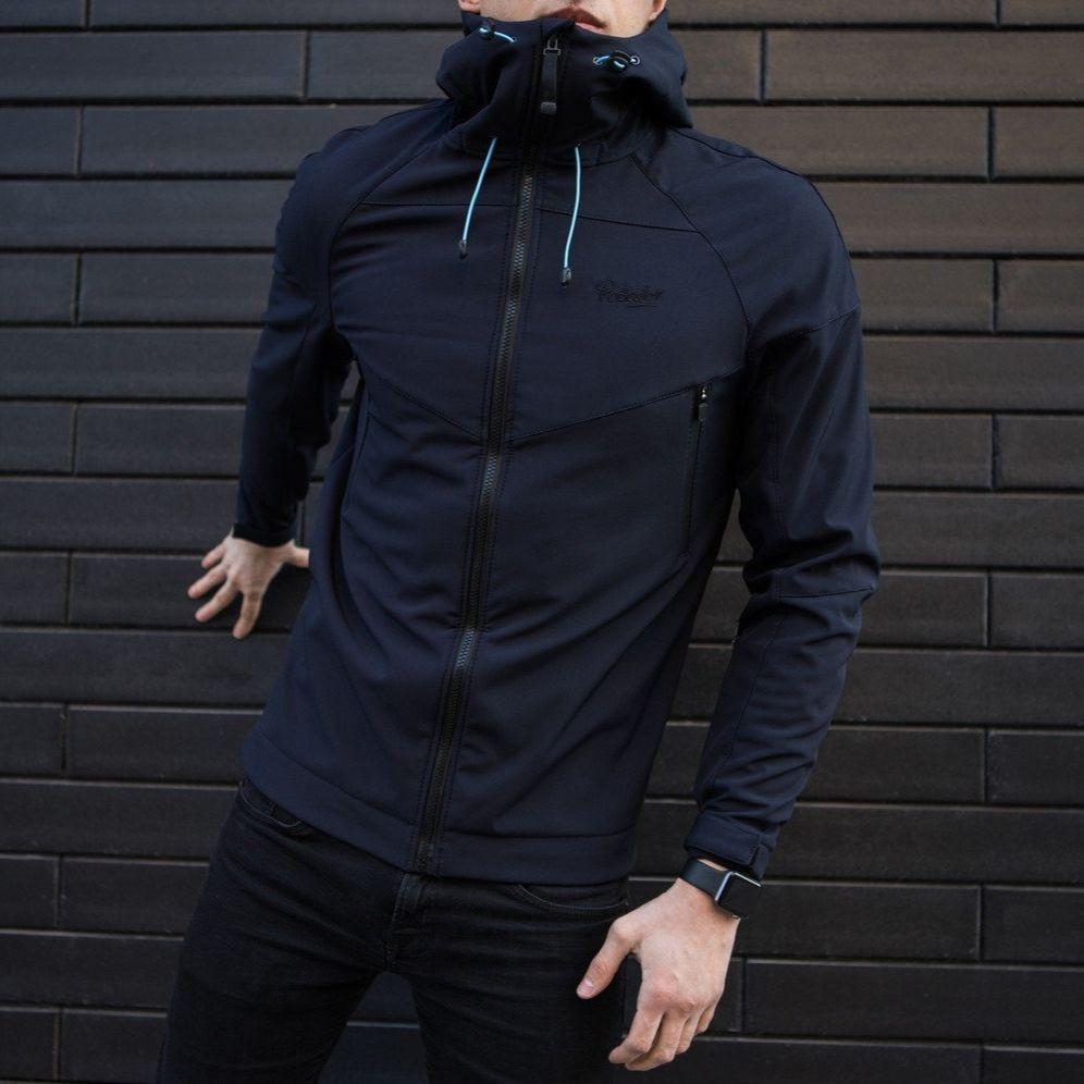 "Мужская демисезонная куртка Pobedov Jacket ""Soft Shell"" Navy (S, M, L, XL, XXL размеры)"