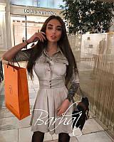 Женское короткое замшевое платье с карманами и пуговицами, фото 1