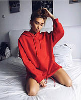 Худи женский теплый, батник с капюшоном и карманом кенгуру, повседневный, свободный, серый, чёрный, красный, фото 1