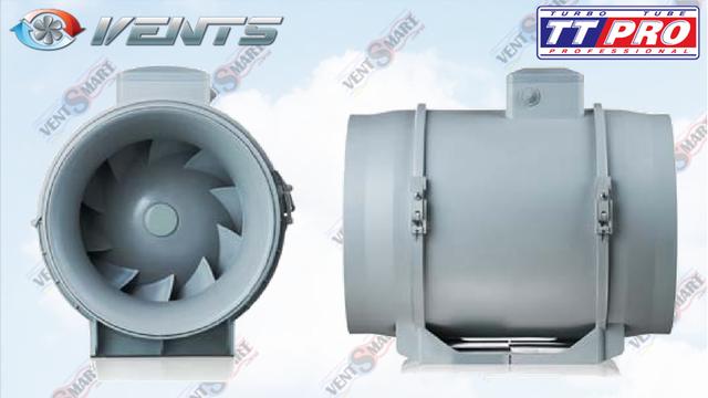 Вид спереди и вид сбоку канальных вентиляторов для круглых каналов VENTS TT PRO