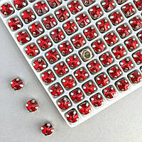 Риволи 6 мм в оправе (серебро). Красный (Classic LUX). 1 шт.