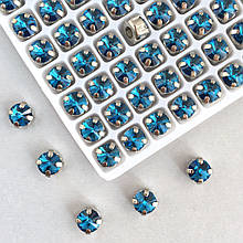 Ріволі 6 мм в оправі (срібло). Блакитний (Classic LUX). 1 шт