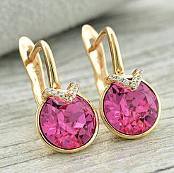 Серьги SWAROVSKI Розовый медицинское золото, позолота 18К английский замок. А/В 4399