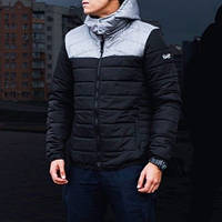 "Мужская демисезонная куртка Pobedov Jacket ""Rise"" Black/Grey (S, M, L, XL размеры)"