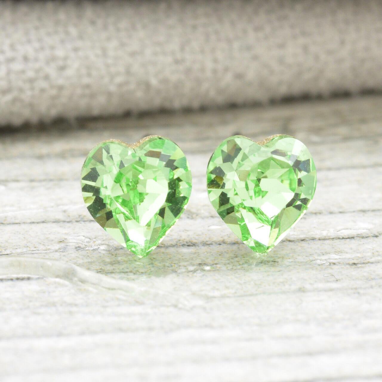 Серьги гвоздики SWAROVSKI 5 мм х 5 мм Блестящий зеленый медицинское золото, родий. А/В 4411