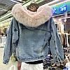 Куртка джинсовая женская зимняя с большим меховым капюшоном, фото 6