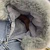 Куртка джинсовая женская зимняя с большим меховым капюшоном, фото 9